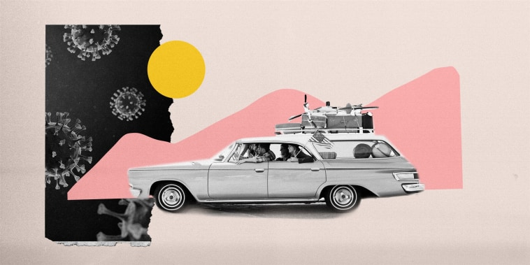 Image: Vintage car with suitcases travels through pink mountain shapes as coronavirus pores loom ahead.