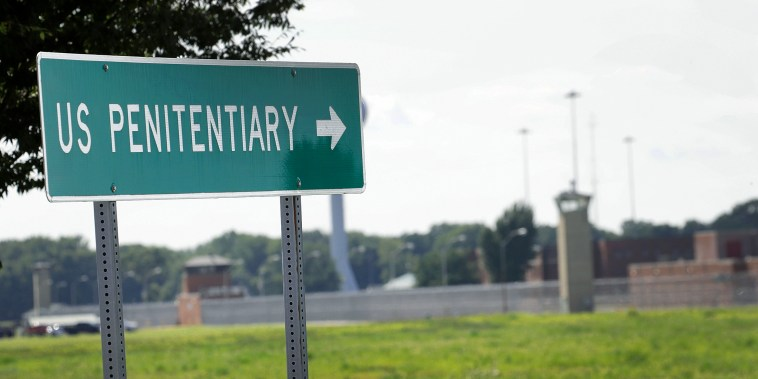 A sign directs visitors to the entrance of the Federal Correctional Complex Terre Haute on July 25, 2019 in Terre Haute, Ind.