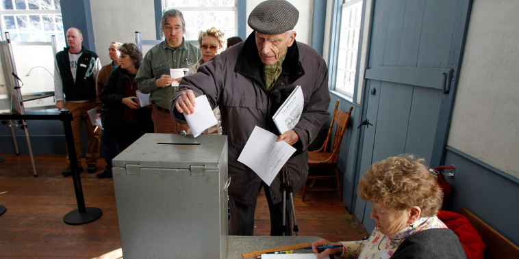 Image: Casting ballot in Vermont