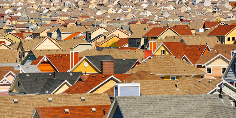 Rooftops in suburban development, Colorado Springs, Colorado, United States
