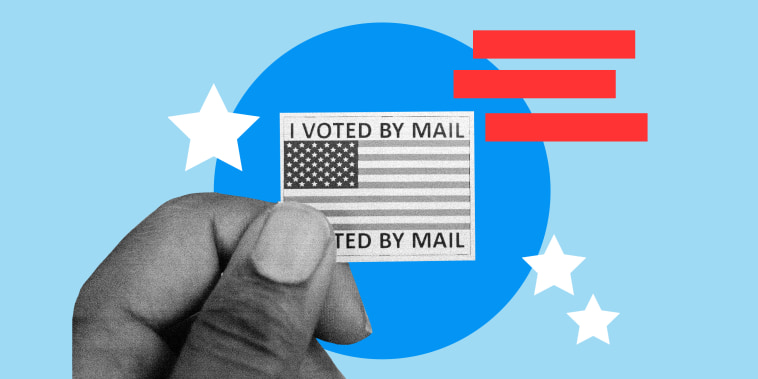 Photo illustration of man holding mail in ballot