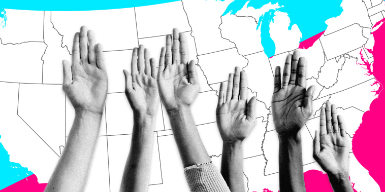 Image: Raised hands with a blue and pink background with a United States map.