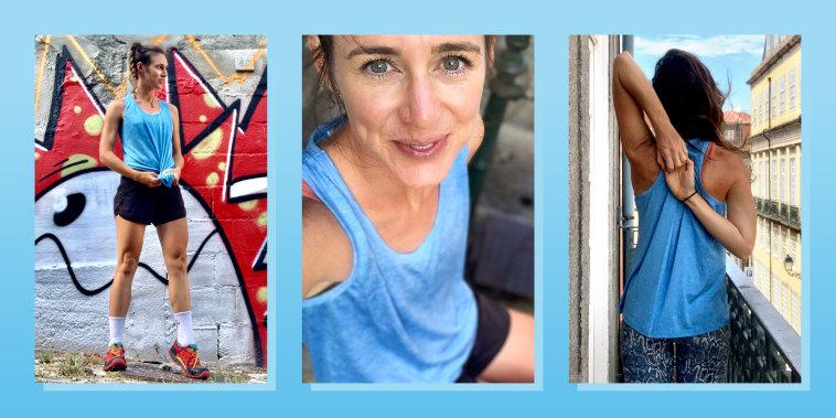 woman wearing blue workout tank top