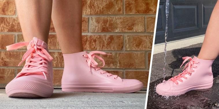 woman wearing pink rain boots