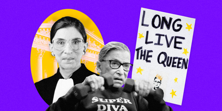 """Image: Ruth Bader Ginsburg as a Supreme Court Justice; RBG working out with weights and a protest sign that reads \""""Long Live the Queen\"""""""