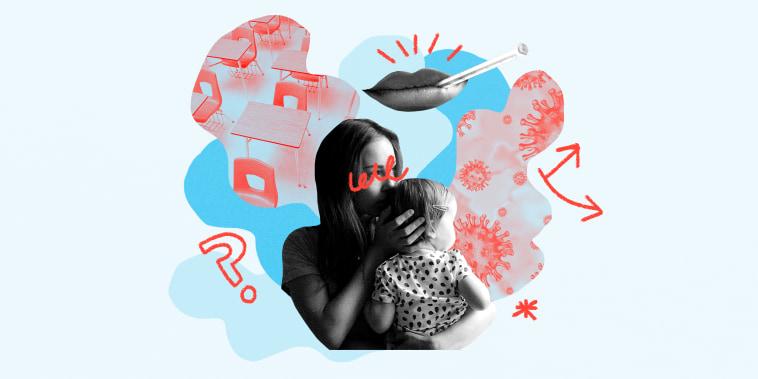 photo collage of woman navigating flu/covid season