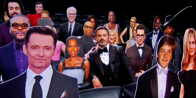 Jimmy Kimmel appears with celebrity cut-outs during the 72nd Emmy Awards telecast on Sept. 20, 2020.