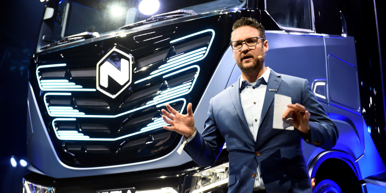 Image: CEO and founder of U.S. Nikola, Trevor Milton speaks during presentation of its new full-electric and hydrogen fuel-cell battery trucks in partnership with CNH Industrial, at an event in Turin, Italy
