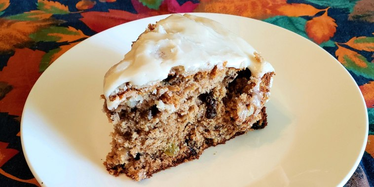 Apple Sauce Cake with Caramel Frosting