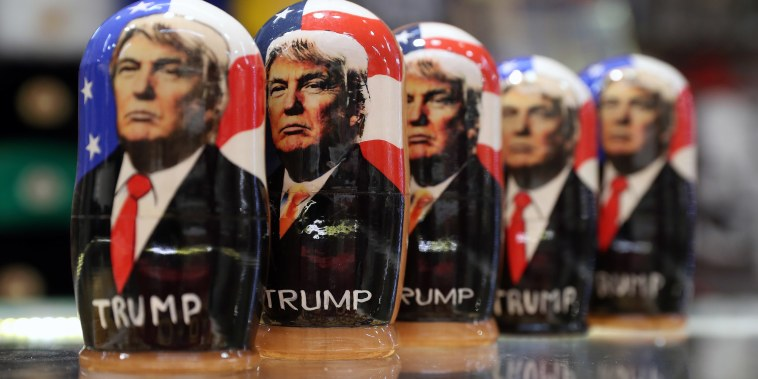 Image: Matryoshka dolls bearing images of President Donald Trump are for sale at a souvenir shop in Moscow.