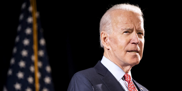 Image: Joe Biden at a press conference in Wilmington, Del., on March 12, 2020.