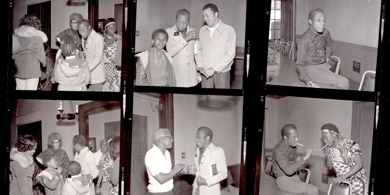 Contact Sheet of James Baldwin photographs, May 3, 1976, Rainbow Sign archive, private collection of Odette Pollar.