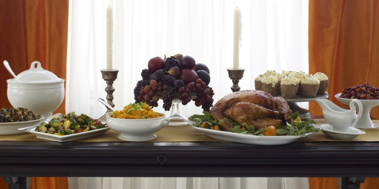 Banquet table set for Thanksgiving