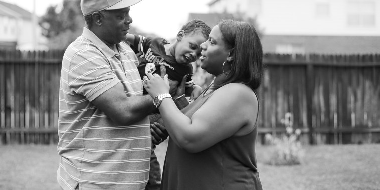Lance and Sharde Butler with their son, Langston, in Houston.