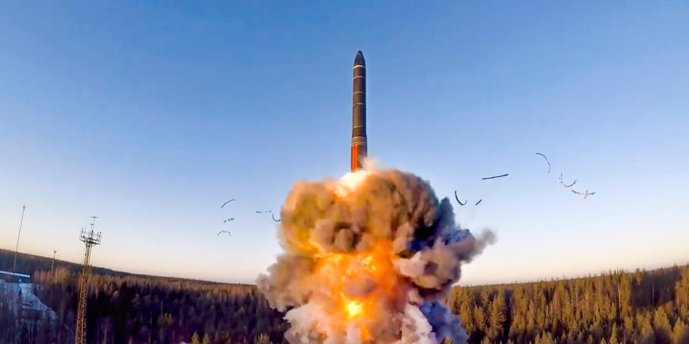 A ground-based intercontinental ballistic missile is launched from the Plesetsk facility in northwestern Russia on Dec. 9, 2020.