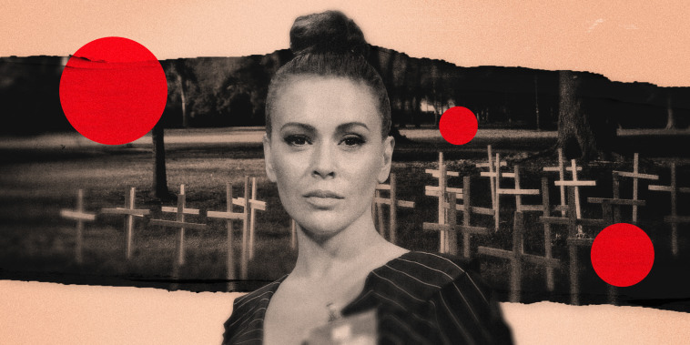 Image: Alyssa Milano on a cut out photo of crosses marking those who died of Covid in Louisiana, with red dots floating.