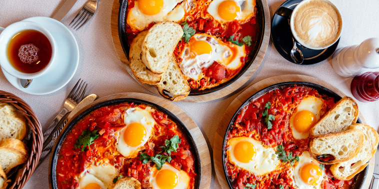 Shakshuka served in frying pan, directly above view
