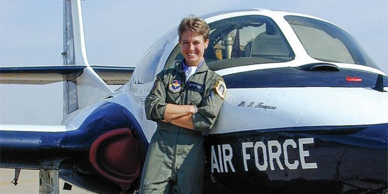 Heather Penney in front of a Cessna T-37 at Sheppard AFB in Wichita Fall, Texas, in 1999.