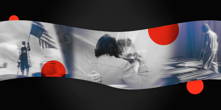 Image: A collage with red dots shows a Black protester standing with an American flag; two women wearing masks hug through a plastic sheet; a man in a hazmat suit walks between rows of caskets.