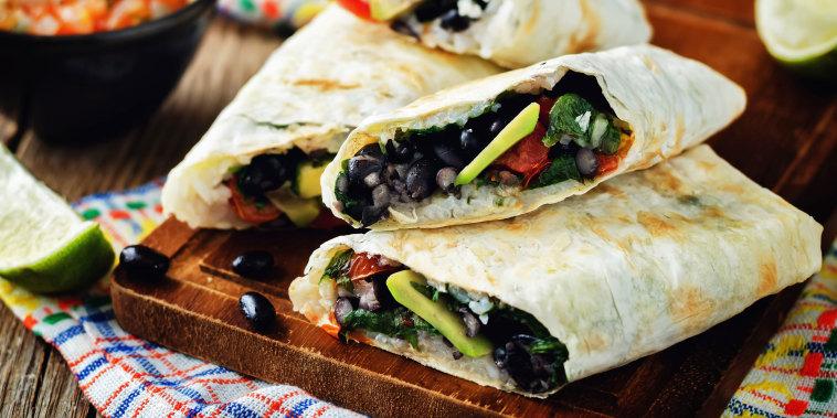 Rice black bean avocado tomato burritos