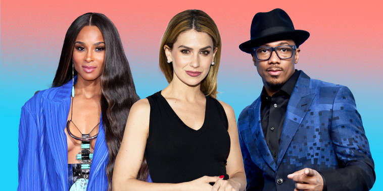 Collage of Ciara, Hilaria Baldwin and Nick Cannon on flat background