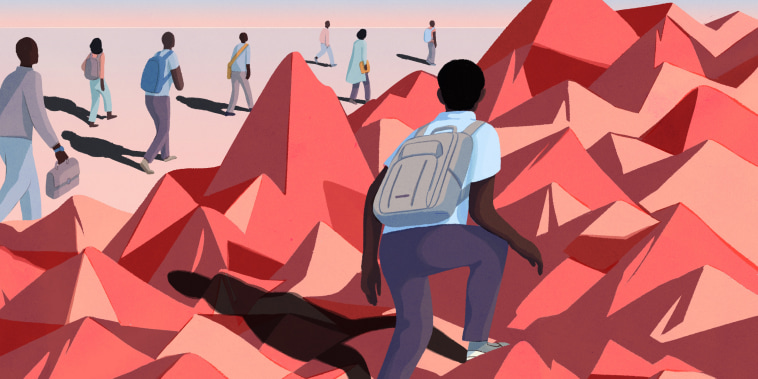 Illustration of man in backpack climbing mountains by himself. Other students in the distance walk on flat ground.