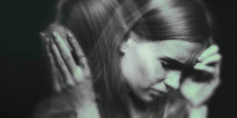 Image: A double exposure of a woman, stressed, with her head in her hands and subtle green overlay.