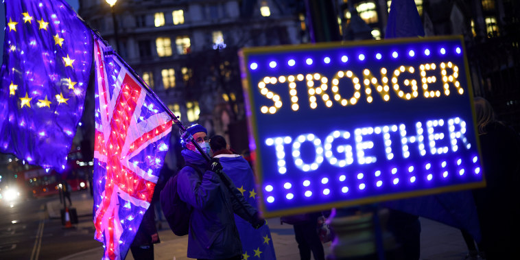 Image: Anti-Brexit protesters demonstrate outside the Houses of Parliament in London