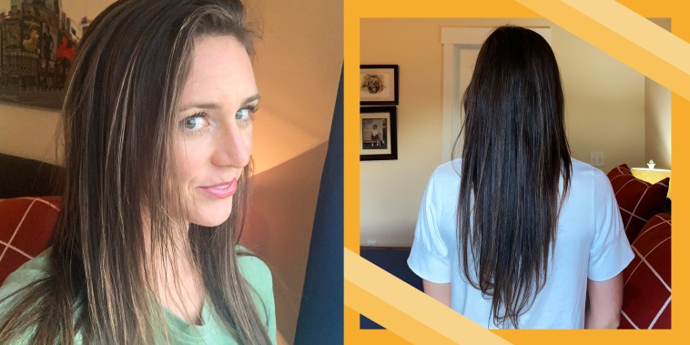 Katie Jackson showing her hair after using vinegar shampoo and conditioner
