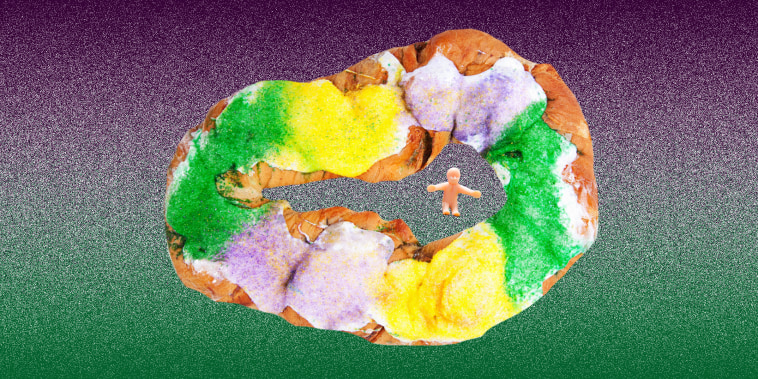 New Orleans-style king cakes are usually covered in green, purple and yellow sprinkles.