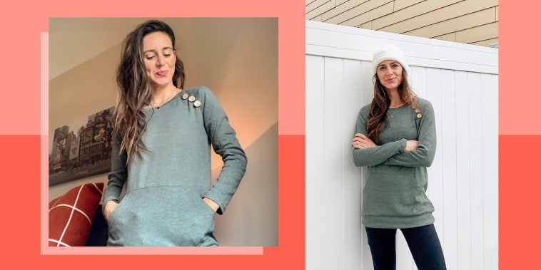Illustration of Katie Jackson wearing the Amazonbest-selling long-sleeved shirt