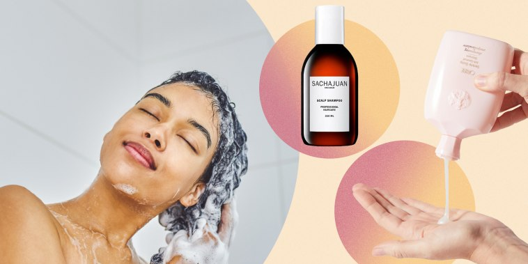 Illustration of a woman rubbing dandruff shampoo in her hair, in the shower and Sachajuan Scalp Shampoo and Oribe Serene Scalp Anti-Dandruff Shampoo