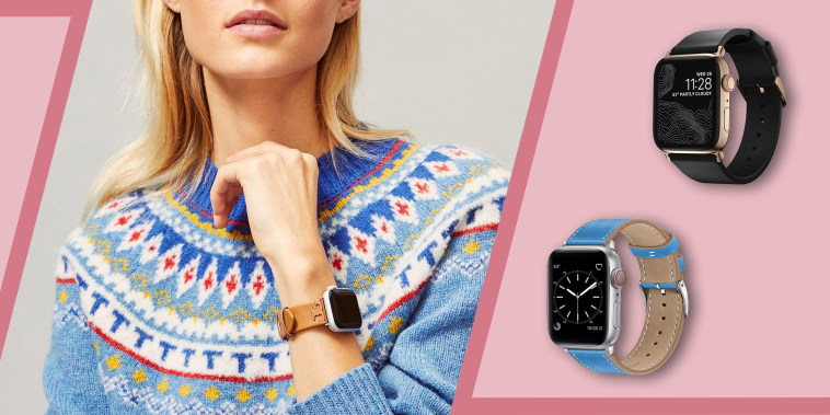 Illustration of Woman wearing a Tory Burch Apple Watch band, a Nomad Modern Strap Black Horween Leather and a Marge Plus Compatible with Apple Watch Band