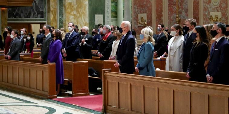 Image: President-elect Joe Biden attends a church service before his presidential inauguration, at St. Matthews Catholic Church in Washington