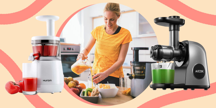 Collage of juicers and woman using one