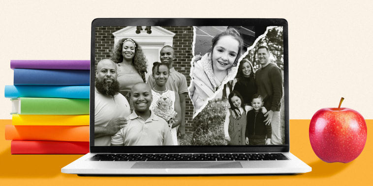Collage of families inside a laptop screen