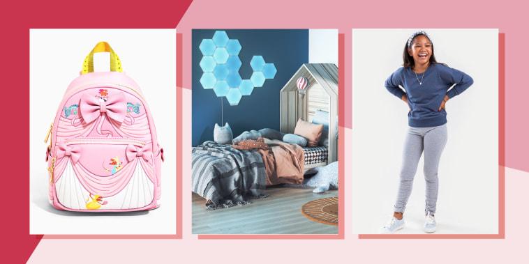 Illustration of Loungefly Disney Cinderella Backpack, Francesca's franki Ditsy Heart Sweatshirt and Nanoleaf LED Light Shapes in a kids bedroom