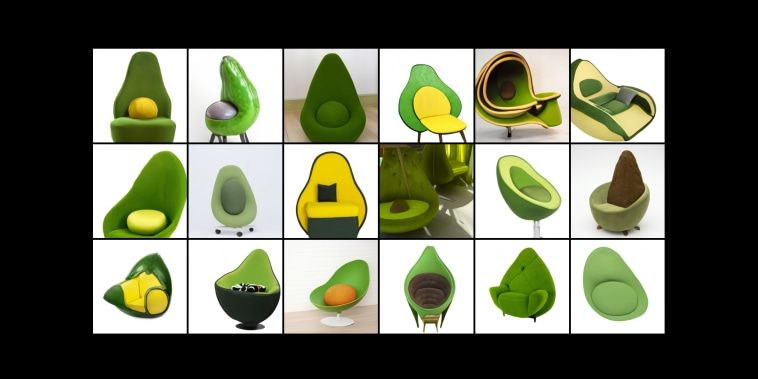 "The text prompt ""an armchair in the shape of an avocado; an armchair imitating an avocado"" was to explore its ability to take inspiration from an unrelated idea while respecting the form of the thing being designed, ideally producing an object that appears to be practically functional."