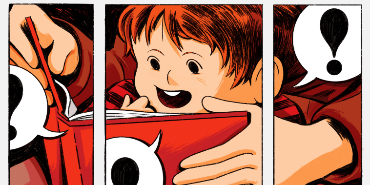 Image: Illustration, in three panels, of a child reading a children's book as his fathers hands hold it, with comic-style text bubbles showing exclamation points