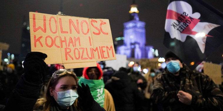 Image: Protest against the verdict restricting abortion rights, in Warsaw