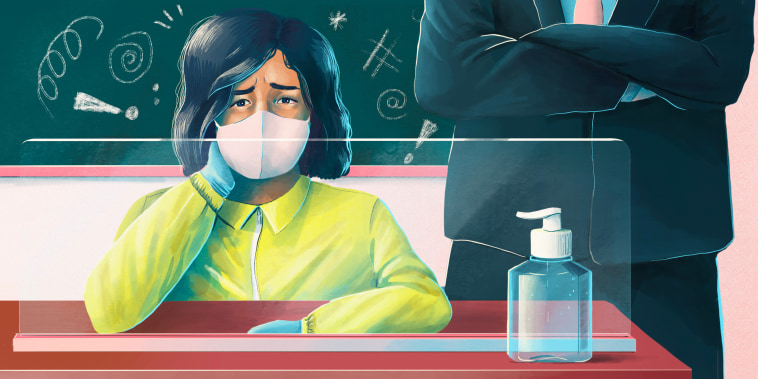 Drawn illustration of worried teacher wearing hazmat suit in a classroom with a man behind her