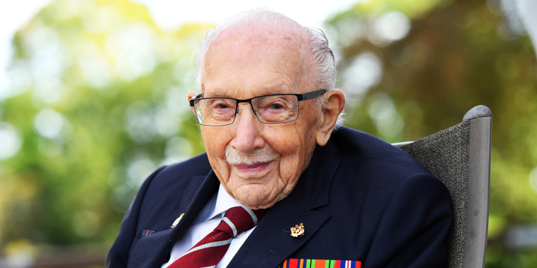 Captain Sir Tom Moore smiles as he launches his autobiography at his home in Milton Keynes