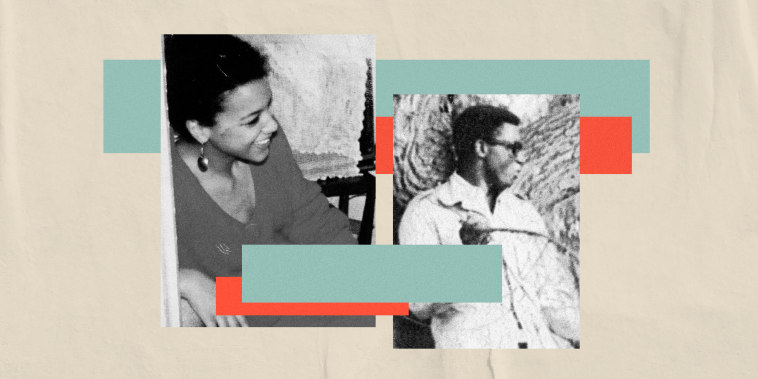 Image: A collage showing Rebecca Carroll as a teenager and a photo of her father on a cream, paper background with teal and peach strips.