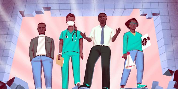 Image: Illustrator of a Black entrepreneur, a Black doctor, a Black politician and a Black activist stand on top of rubble from a broken down wall.