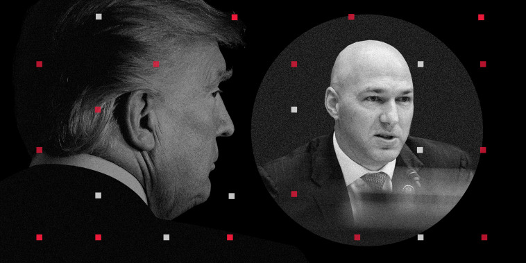 Photo illustration of Donald Trump looking away and Rep. Anthony Gonzalez speaking. Small red and white squares are spread across the image.