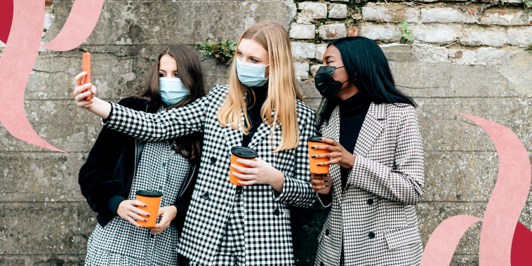 Multiethnic Group Of Three Female Women With Face Mask Taking A Selfie