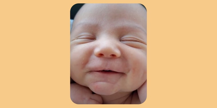 Close up of baby smiling