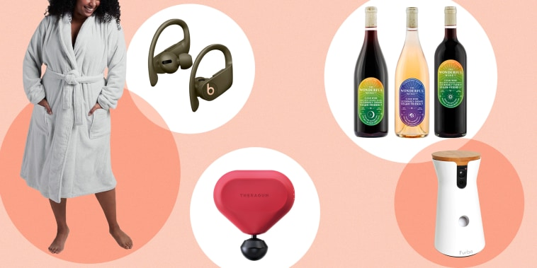 Illustration of Green Powerbeats Pro Wireless Earphones, Theragun Mini (Product RED), Wonderful Wine Co The Most Wonderful Pack, a Furbo dog camera and a woman wearing a Parachute Classic Bathrobe. Best Valentine's Day 2021 gift ideas for mom, sister, bff
