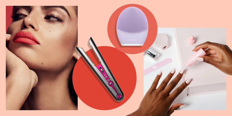 Illustration of Olive and June The Mani System, Dyson Corrale Hair Straightener that comes as a gift set, FOREO LUNA 3 in pink and a woman wearing  Fenty Beauty Stunna Boss Bolds lipstick. Valentine's Day beauty gifts for her include Pillow Talk lipstick.