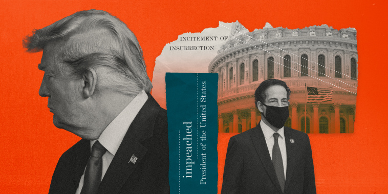 """Image: Illustration showing a collage of former President Donald Trump turning away from paper tears that read \""""impeachment\"""" and \""""insurrection\"""" and Rep. Jamie Raskin and the Capitol."""